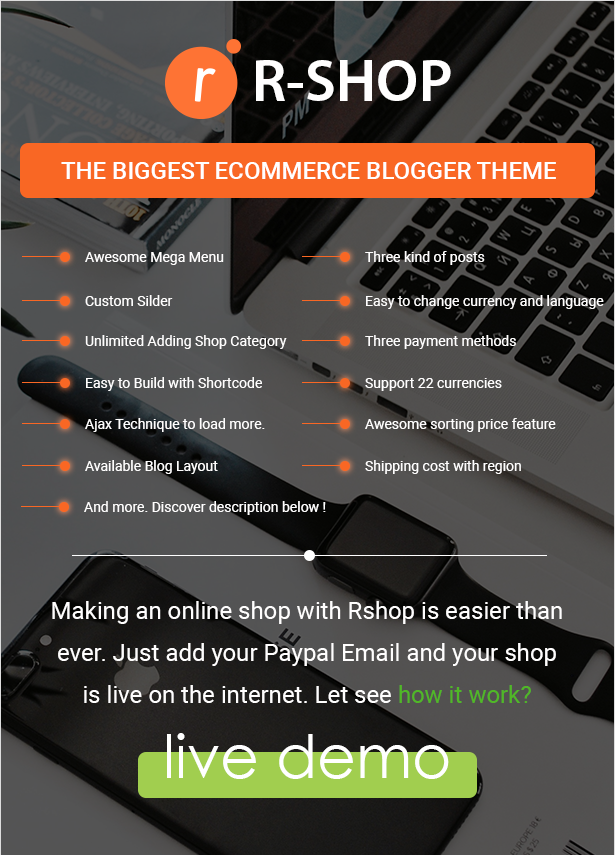R-shop - Ecommerce Responsive Blogger Template. - 1